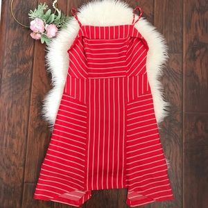 NEW Banana Republic Red Striped Hankerchief Dress